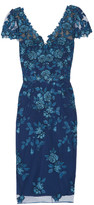Marchesa Sequin-embellished embroidered tulle dress