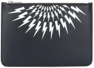 Neil Barrett Thunderbolt Print Clutch Bag