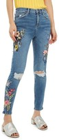 Topshop Women's Jamie Embroidered Rip Skinny Jeans