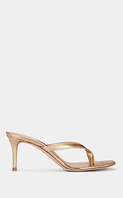 Gianvito Rossi Women's Calypso Metallic Leather Thong Sandals - Gold