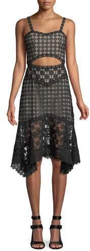 Alice + Olivia Tamika Cutout-Waist Lace Eyelet Handkerchief Dress