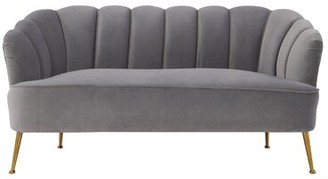 "Willa Arlo Interiors Mable Velvet 61.8"" Recessed Arm Settee Upholstery Color: Gray"