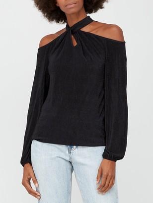 Very Cold Shoulder Halter Long SleeveTop - Black