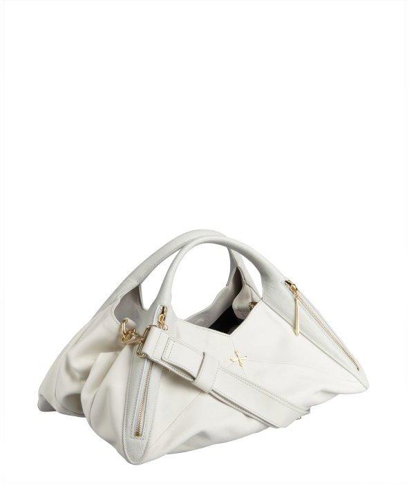 Pour La Victoire off white leather triangle cut 'Nouveau' convertible satchel