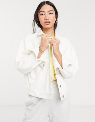 Weekday Grand organic cotton oversized denim jacket in white