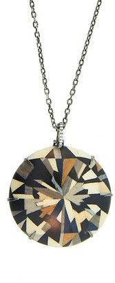 Silvia Furmanovich Marquetry 18K White Gold, Brown Diamond & Wood Geometric Round Pendant Necklace