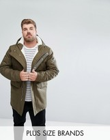 Bellfield Plus Borg Lined Parka With Hood