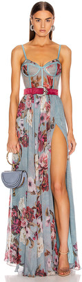 PatBO Peony Print Bustier Maxi Dress With Belt in Soft Blue | FWRD