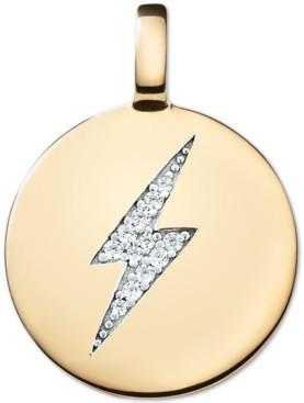 CHARMBAR Swarovski Zirconia Lightening Bolt Charm Pendant in 14k Gold-Plated Sterling Silver