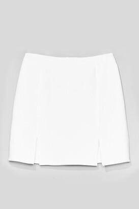 Nasty Gal Womens What's Slit Gonna Be High-Waisted Mini Skirt - White