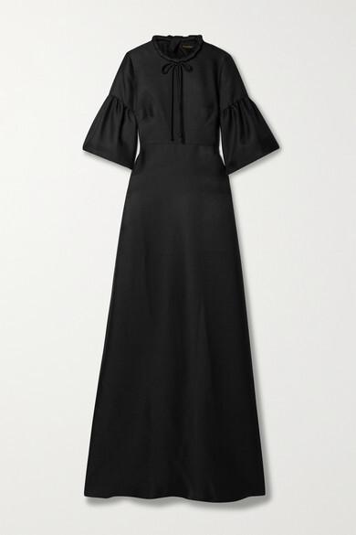 Thumbnail for your product : Reem Acra Tie-neck Mikado-pique Gown - Black