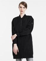 Calvin Klein Satin Twill Long Bomber Jacket