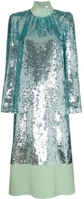 Tibi Sequin-Embellished Midi Dress
