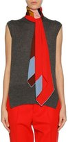 Marni Sleeveless Cashmere Scarf-Neck Sweater, Medium Gray