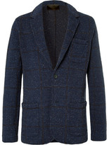 Altea Prince Of Wales Checked Knitted Wool-blend Blazer - Blue