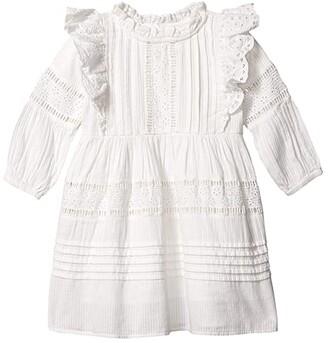 Cotton On Sasha Long Sleeve Dress (Little Kids) (White) Girl's Dress