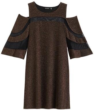 Nina Leonard Cold Shoulder Mesh Paneled Dress