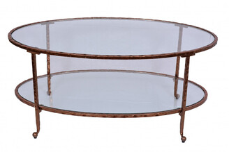 Tantra Hammered Oval Coffee Table Copper Leaf