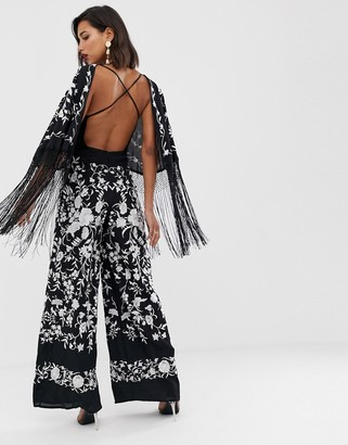 Asos EDITION embroidered jumpsuit with fringe