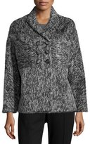 Carolina Herrera Double-Breasted Shawl-Collar Jacket, Black/Off White