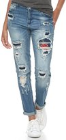 Almost Famous Juniors' Floral Ripped & Patched Jeans