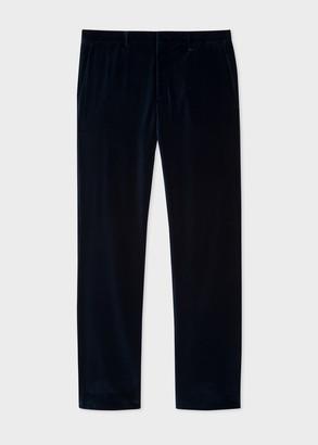 Men's Slim-Fit Dark Blue Velvet Trousers