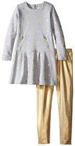 Kardashian Kids Gold Fleece Dress with Metallic Leggings Two-Piece Set (Toddler/Little Kids)