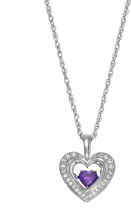 Sterling Silver Amethyst & Lab-Created White Sapphire Heart Pendant Necklace