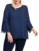 Fever Plus Size Ribbed Bell-Sleeve Top