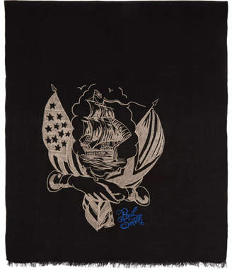 Paul Smith By Mark Mahoney by Mark Mahoney Black Wool Embroidered Ship Scarf
