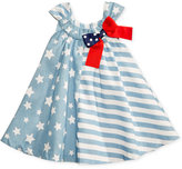 Bonnie Baby Mixed-Print Chambray Trapeze Dress, Baby Girls (0-24 months)