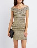 Charlotte Russe Metallic Off-The-Shoulder Bandage Dress