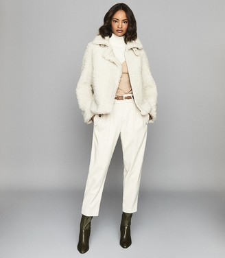 Reiss Clarice - Reversible Curly Shearling Jacket in Cream