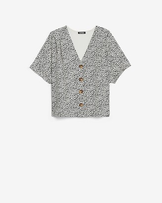 Express Printed Button Front Dolman Sleeve Tee