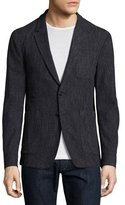 Burberry Donegal Soft Cotton-Silk Blazer, Charcoal Blue
