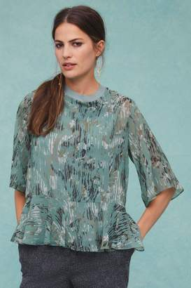 Next Womens Abstract Print Floaty Blouse - Blue