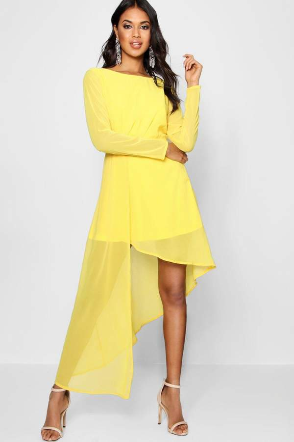boohoo Boutique Chiffon Drape Fitted Dress