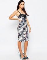 Lipsy Printed Midi Dress With Lace Insert