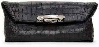 Alexander McQueen Black Croc Sculptural Pouch