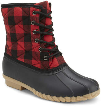 OLIVIA MILLER Women's Casual boots RED - Red Plaid Quilted Duck Boot - Women