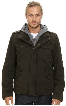 Levi's Two-Pocket Hoodie with Zip Out Jersey Bib/Hood and Sherpa Lining (Olive 2) Men's Sweatshirt