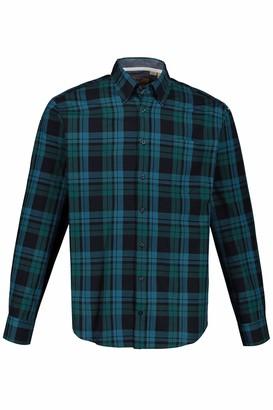 JP 1880 Men's Big & Tall Checked Shirt Ocean XXXXX-Large 723390 77-5XL