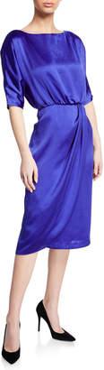 Maggy London Dolman-Sleeve Satin Dress