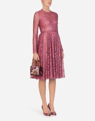 Dolce & Gabbana Chantilly Lame Lace Midi Dress