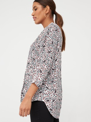 Very Notch Neck Longline Tunic - Floral Print
