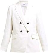 Frame Double-breasted Linen-blend Blazer - Womens - White
