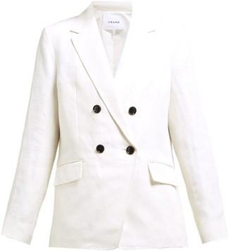 Frame Double-breasted Linen-blend Blazer - White