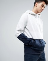 Hollister Overhead Hoodie Sweat And Tricot Mix With Stripe Regular Fit In Grey