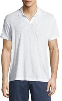 Theory Willem Johnny-Collar Short-Sleeve Polo Shirt, White