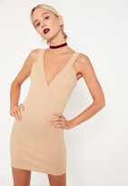 Missguided Petite Nude Ponte Plunge Bodycon Dress
